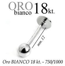 Piercing body TRAGO 12mm CORPO LABRET LABBRO in ORO BIANCO 18kt. white GOLD