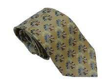 Men's gold and light blue floral pattern woven tie