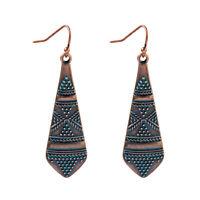 Vintage Bohemian Copper Carved Retro Women's Geometric Gypsy Drop Earrings