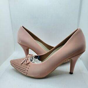 "Women's Pink Mesh platform 3"" 1/2  high heel dress shoe Luxury Hand made sz6.5"