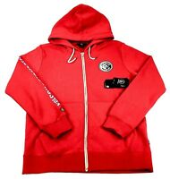 Volcom X Burger Records Full Zip Up Fleece Jacket Hoodie Red Mens Small NWT