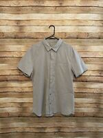 Lululemon Mens Gray Short Sleeve Oxford Button Up Shirt Hidden Button XL Slim