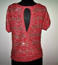Women's CANDIES Red and Gold Metallic Sweater - Size - S