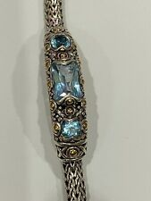 John Hardy Sterling Silver and 18K Gold Blue Topaz bracelet, 7.25 in