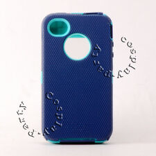 iPhone 4 iPhone 4s Defender Hard Rugged Case Navy Blue/Teal Green No Belt Clip
