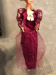 Vintage burgundy & Gold sparkled Barbie Doll Dress & gold high heel shoes