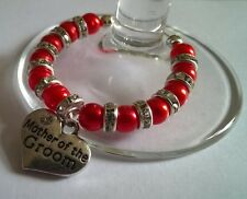 """Personalised """"Mother of Groom"""" Wine Glass Charm, Handmade with Diamante Spacers"""