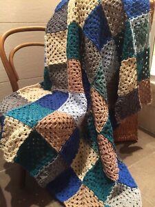 Handmade New multicolor granny square crochet blanket