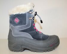 Columbia Womens Boots Size 4 / 36 Omni Heat Winter Hiking Quick Lace Grey Suede