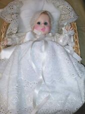 #1 Gerber Christening Baby Doll In Basket-New Tied In Basket With Tag-Mint