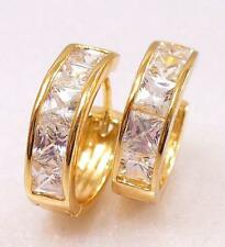 Huggie Hoop Earrings Unisex 18K Gold Plated Simulated Diamond 17mm UK
