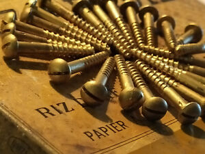 "#8x 1 1/4"" 20pc OLD ORIGINAL BRASS WOOD SCREWS SLOTTED ANTIQUE PATINA RESTORAT"