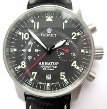 POLJOT AVIATOR Watch Russian Chronograph   caliber 3133 , HIRSCH  leather strap
