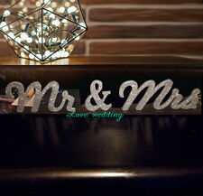 """8"""" Mr and Mrs Sweetheart table Mr and Mrs Photography prop Silver glitter sign"""