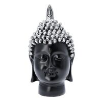 Silver Buddha Head Statue Home Christmas Decor Gifts Antique Table Top Figurines