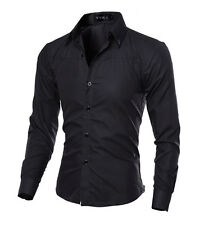 New Fashion Mens Casual Shirts Slim Fit Long Sleeve Casual Dress Shirts Tops Hot