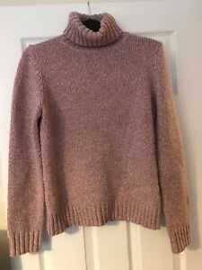 Boden Dusty Pink Knitted Roll Neck Jumper Size 10