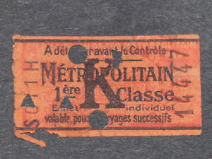 "[Collections] Ticket Metropolitan Former - "" K "" - 1ère Class Ticket Railway"
