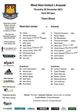Teamsheet - West Ham United v Arsenal 2013/14