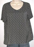 Ann Taylor LOFT Petites Women's Short Sleeve Black & White Print Top Size PS