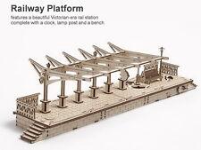 Railway Platform Mechanical Model 3D Wood Puzzle DIY Assembly Kit Train Station