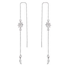 Silver Chakra Thread Earrings with Crystals from Swarovski®