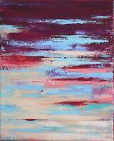 TABLEAU ABSTRAIT ORIGINAL SUR TOILE peinture signée HZEN- UNE ILLUSION- 27x22cm