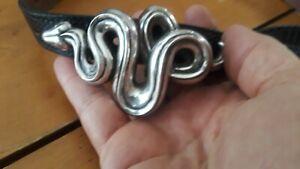 Kieselstein Cord Sterling Silver Snake Belt Buckle 111 grams allator.Greenbelt.