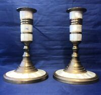 Pair of 2 Vintage Brass Candlestick Candle Holders Inlaid Mother Of Pearl India