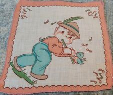 Vintage Childs Hankie Little Boy Blowing a Picalo with a Bird on it