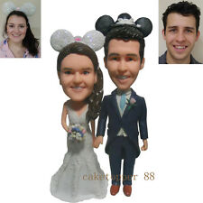 Funny Wedding Cake Topper Bride and Groom Hand in Hand Wearing Disney Mickey Hat