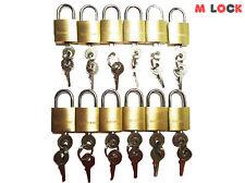 """LOT OF 12 Small Brass Padlock (20MM) 0.79"""" Mini Tiny Locker Box Jewelry New"""