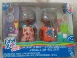 Baby Alive Super Snacks Snackin' Twins Luke and Lily African American NIB