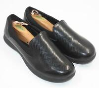 Tred Safe Anti Fatigue Slip Resistant Womens Black Leather Slip On Flats Sz 9M