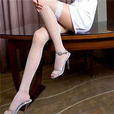 Leg Avenue Fashion Fishnet Lace Top Thigh-Hi White Stockings Plus Size 1X-3X
