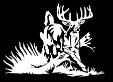 Whitetail Deer buck hunting car truck window White vinyl decal graphic sticker
