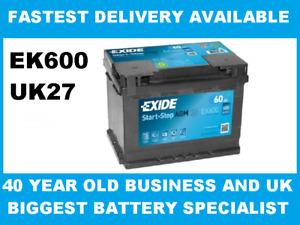 Exide 027 AGM Car Van Battery 60Ah EK600 3 Year Warranty