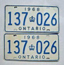 1968 ONTARIO Vintage License Plate PAIR # 137 026