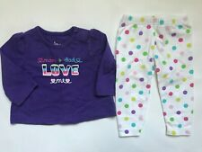 Girl's Size 3M 0-3 Months Two Pc Mom & Dad Love Me Circo Top & Carter's Leggings