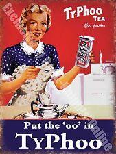 Typhoo Tea Vintage Food & Drink, 90 Girl Cafe Kitchen Shop, Small Metal/Tin Sign