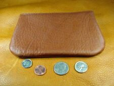 Large Light Brown Bison Buffalo Leather coin pouch handcrafted disabled vet 5020
