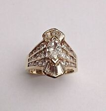 14k SOLID GOLD 1.77tc/.53 ct MARQUISE DIAMOND ENGAGEMENT/COCKTAIL RING SIZE 5.5
