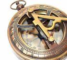 Nautical Brass Sundial Push Button Compass Handmade Marine Pocket Compass Decor