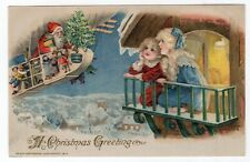 WINSCH CHRISTMAS POSTCARD, SANTA ON ZEPPELIN, COPYRIGHT 1913.
