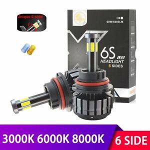 6 Sides 9007 HB5 LED Headlight Bulbs Hi-Lo Beam COB Headlamp 68000LM Car Light