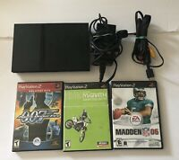 Sony Playstation 2 PS2 Slim Console Bundle SCPH-70011 w/ 3 Games *NO CONTROLLER*