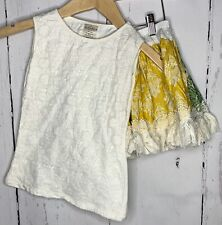 Persnickety Girl Size 6 Cream Yellow Green Lace Outfit Top Skirt Tank