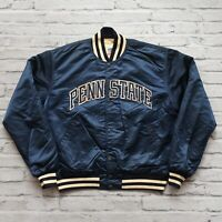 Vintage 90s Penn State Nittany Lions Satin Jacket by Starter Size XL Made in USA