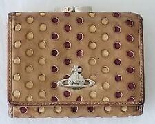 AUTH RARE VIVIENNE WESTWOOD LONDON TAN LEATHER KISSLOCK BIFOLD WALLET MADE ITALY