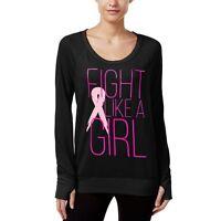 New IDEOLOGY Women's Pink Ribbon BCRF Long Sleeve Black Shirt Top Yoga Gym Small